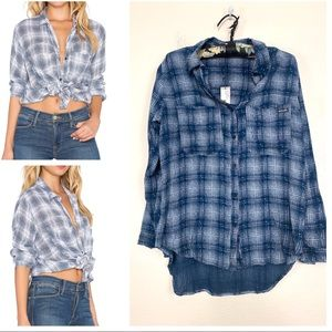Rolla's Bronte Button Up High Low Check Shirt XS
